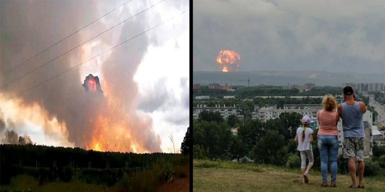 Russian military base explosion