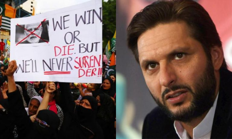 Shahid Afridi appealed his fans to join him on call for Kashmir