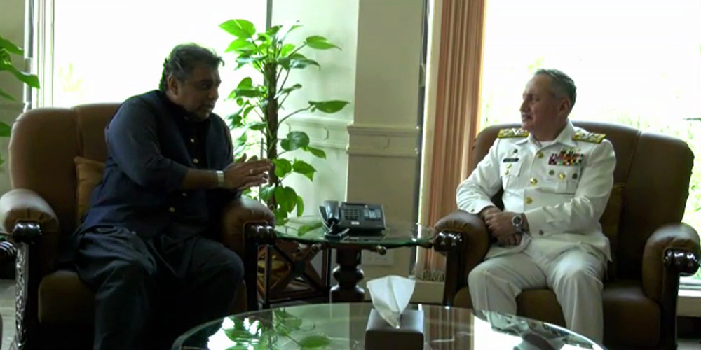 Federal Minister for Maritime Affairs Syed Ali Zaidi held a meeting with Naval Chief Admiral Zafar Mahmood Abbasi