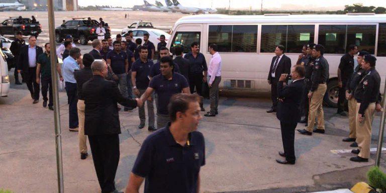 Sri Lanka cricket team arrives amid tight security