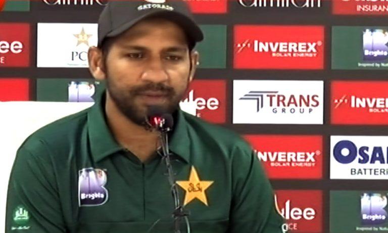 Captain Sarfaraz addresses a press conference at National Stadium