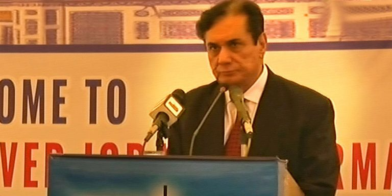 Chairman NAB addressing officers in Sukkur headquarters