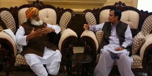 Speaker Punjab Assembly Chaudhry Pervaiz Elahi met with JUI-F Chief Maulana Fazlur Rehman's at his residence here on Thursday.