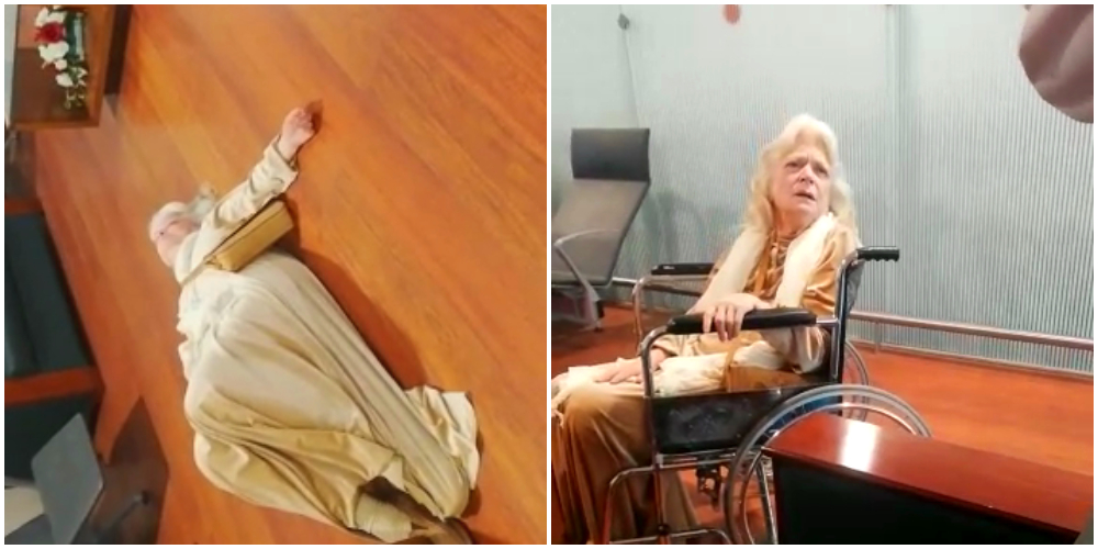 Blacklisted American woman lays on the floor of Islamabad airport