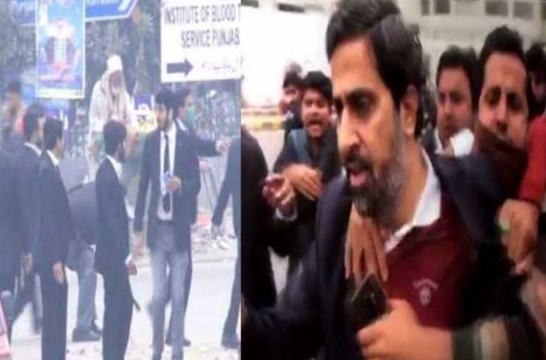 Fayyaz-ul-Hassan Chohan beaten by lawyers during a violent clash at PIC