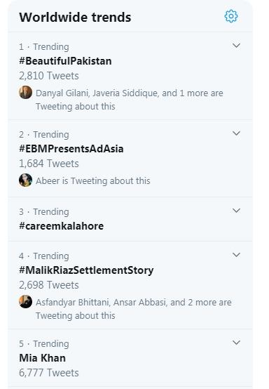 """""""Beautiful Pakistan"""" takes Top Spot in Worldwide Trends"""