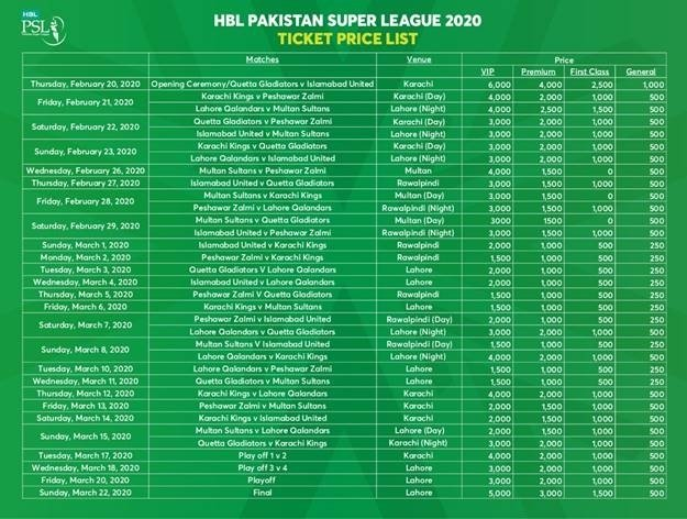 PSL 5 Match Tickets Prices