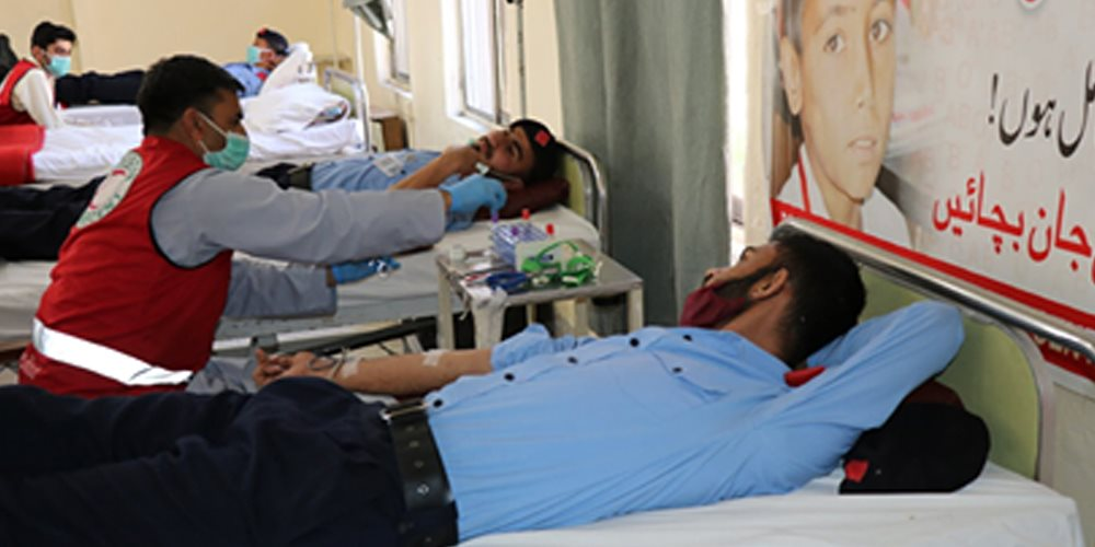 Islamabad Capital Territory Police officials donate blood for thalassemia patients