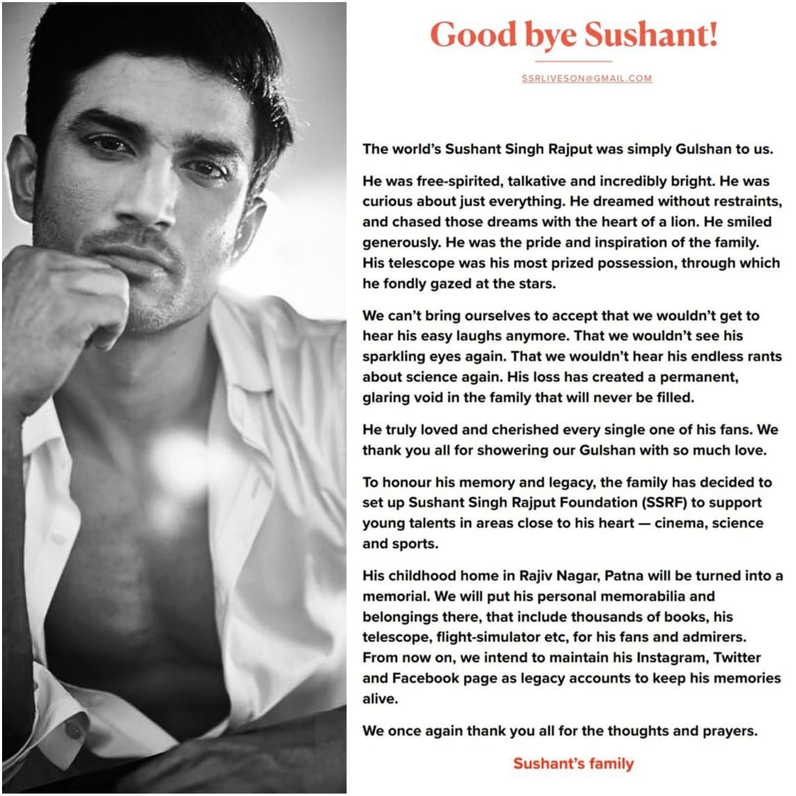 Shushant's family to set up Sushant Singh Rajput Foundation (SSRF)