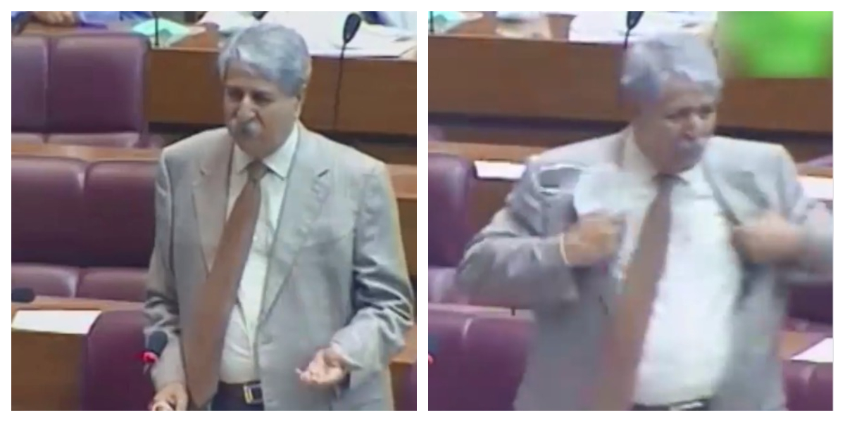 Naveed Qamar takes off his coatand gets ready to fight in the National Assembly
