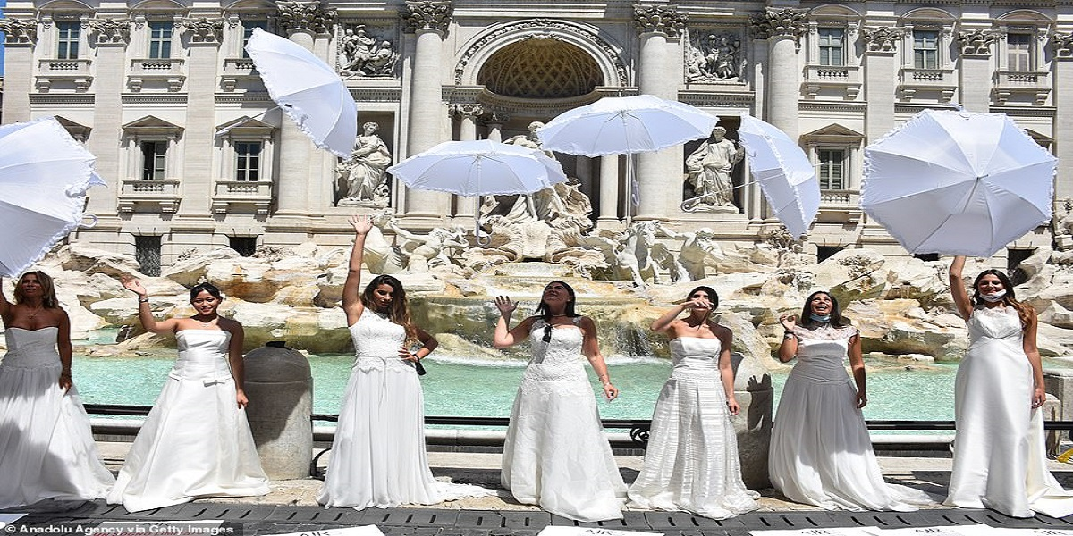 Angry brides protest in Italy as coronavirus lockdown affected their wedding events