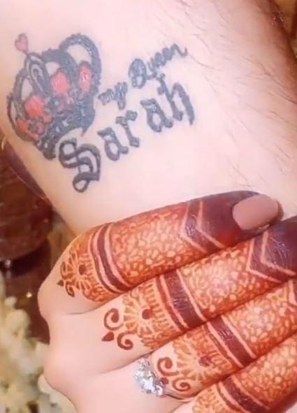 Falak Shabir tattoo for wife Sarah