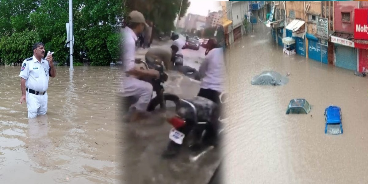 Roads and streets turn into ponds after heavy rains lash Karachi