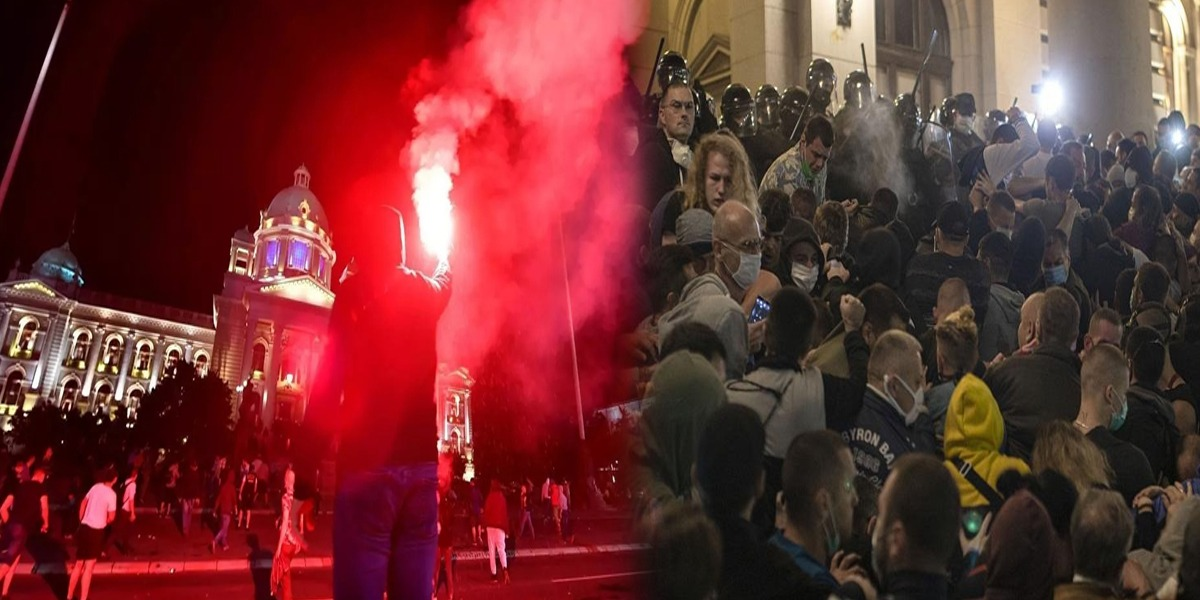 Serbia: Protesters attack parliament over imposition of coronavirus curfew