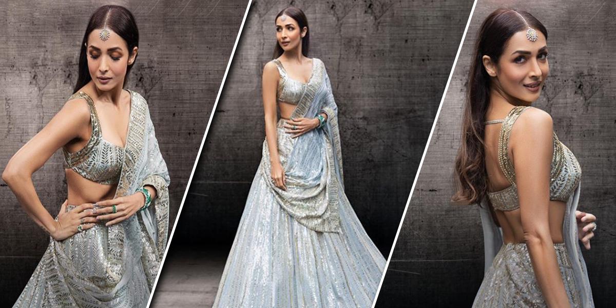 Malaika Arora Stuns In Her Elegantly Styled Grey Lehenga