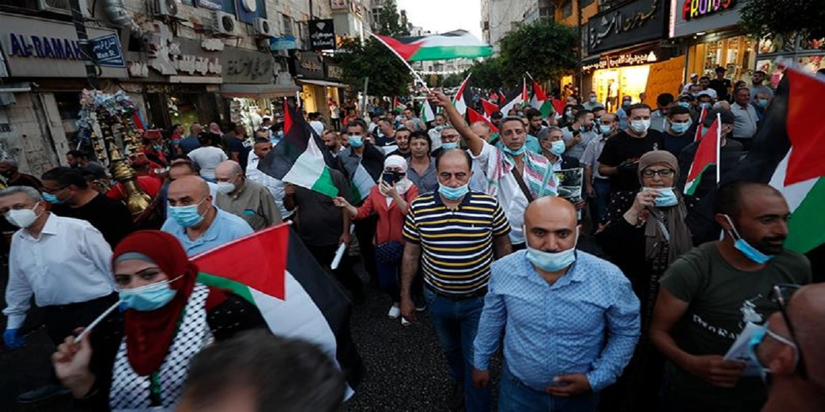 Palestinians protest against Arab normalisation deals with Israel