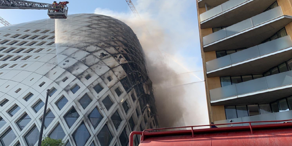 Landmark building in central Beirut catches fire