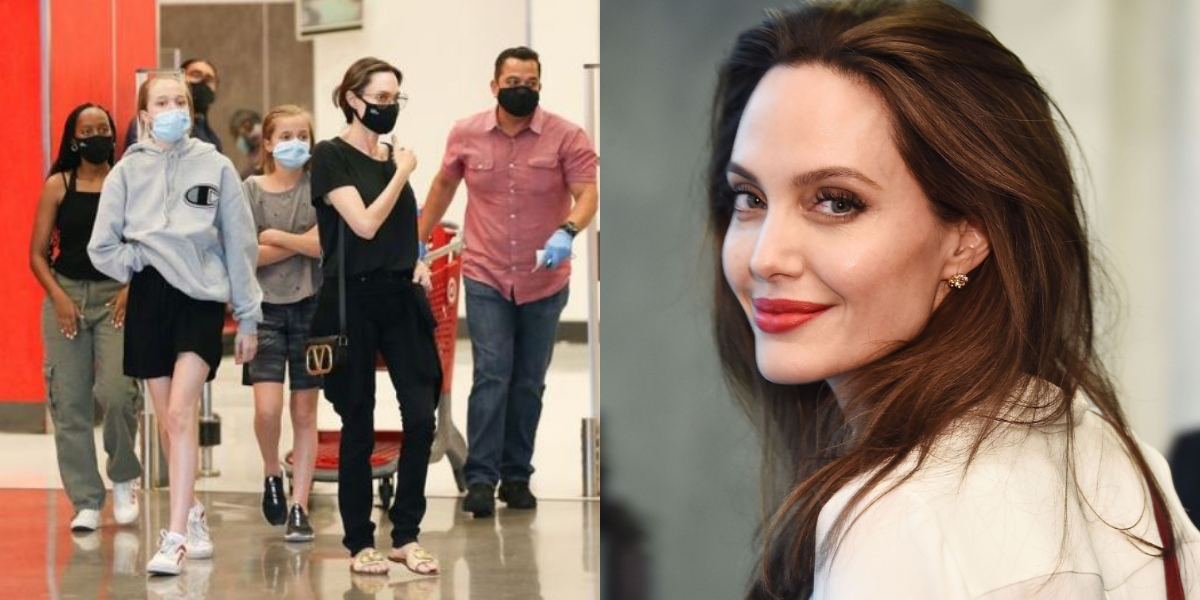 Angelina Jolie shopping with kids