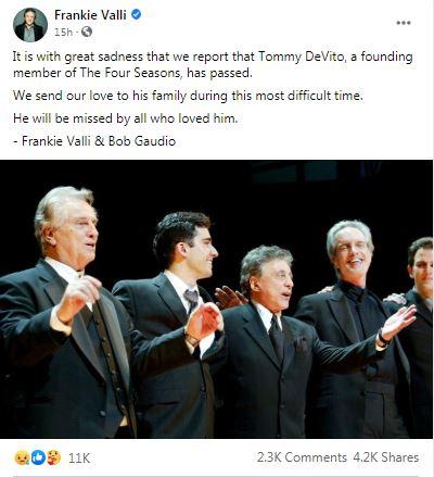 Tommy DeVito death Frankie Vali