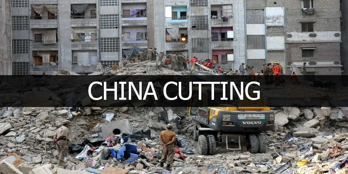 Collapsed building in Korangi constructed on China cutting land