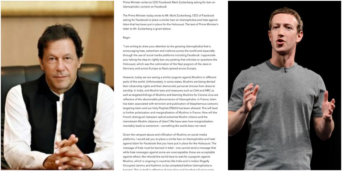 PM Khan letter to Zuckerberg