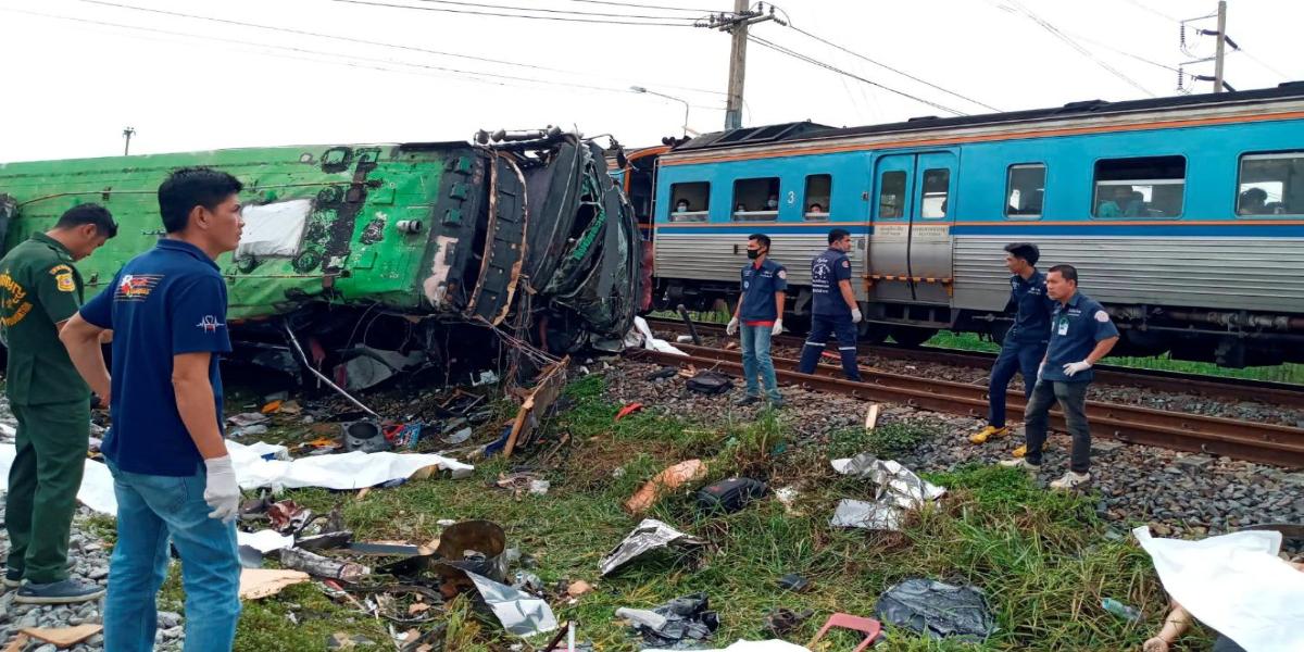Thailand bus train collision