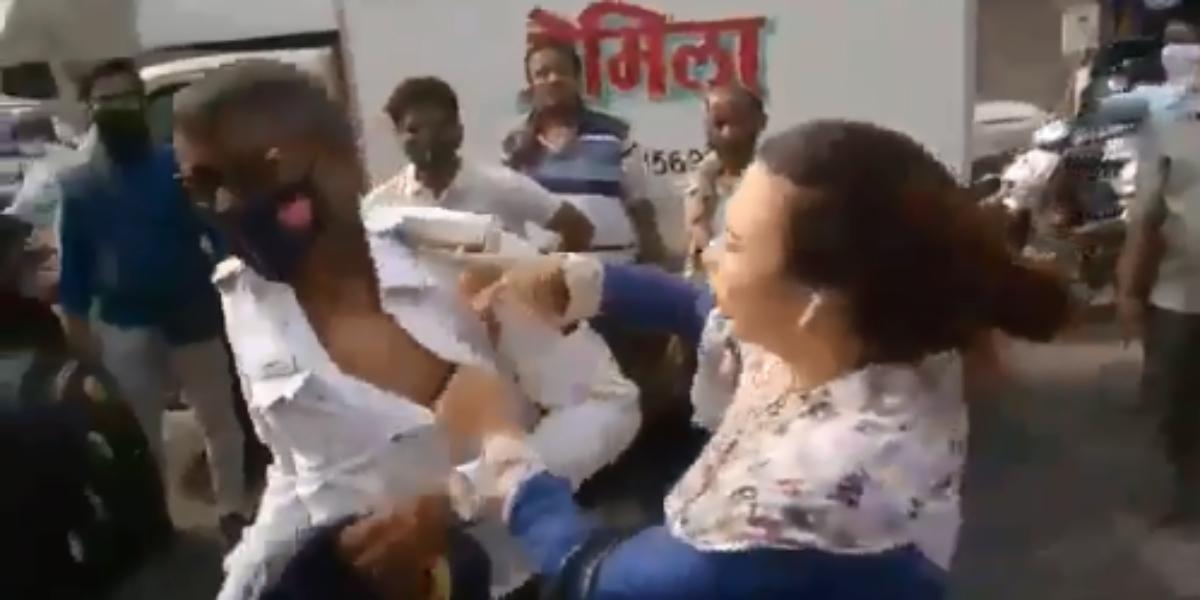 Woman beats constable