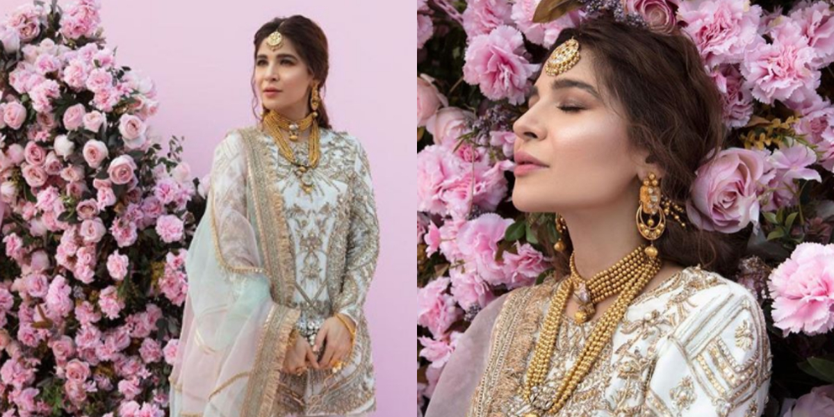 Ayesha Omar Blooms In White Floral Saree