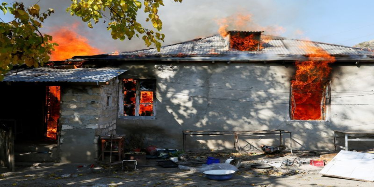 Nagorno-Karabakh: Armenians Villagers Torch Their Houses Before Leaving
