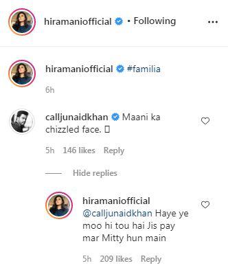 Hira Mani Instagram Comments