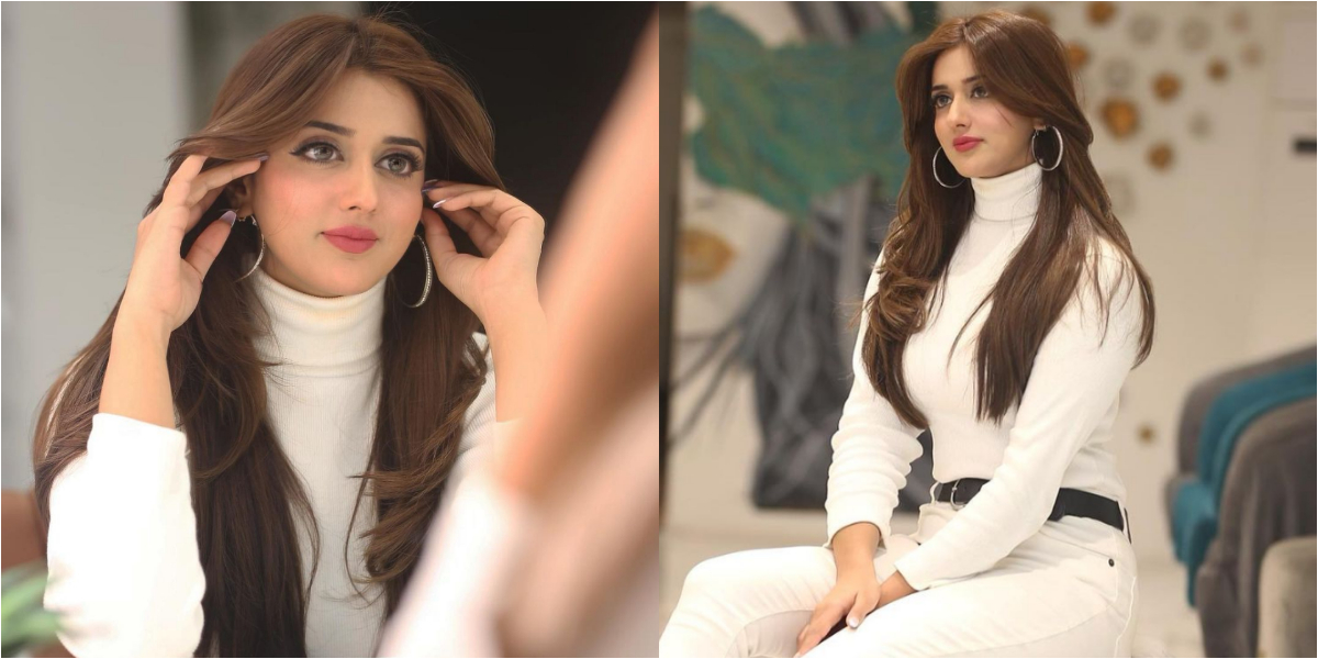 Jannat Mirza all white outfit