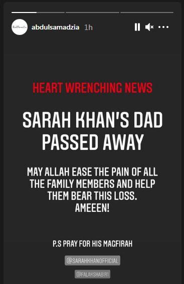 Sarah Khan father passed away