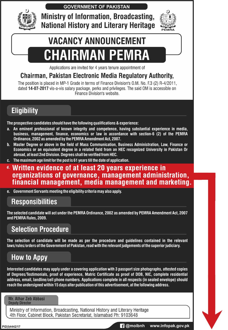 Chairman PEMRA Ad