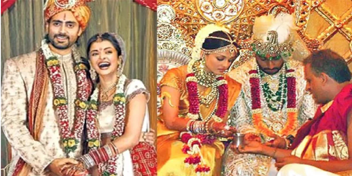 Aishwarya Rai Bachchan wedding saree gold