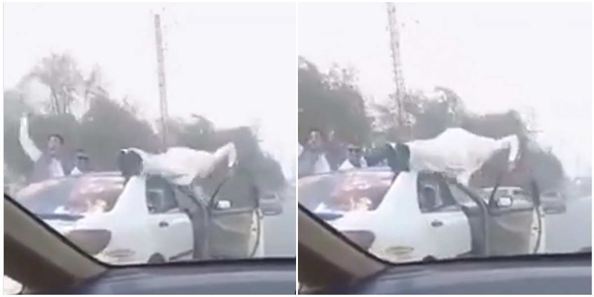 Man arrested for performing stunts on a moving car in Peshawar, watch