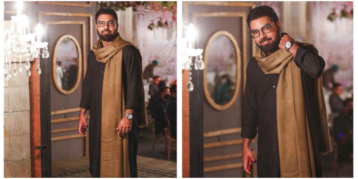 Yasir Hussain's all-black look