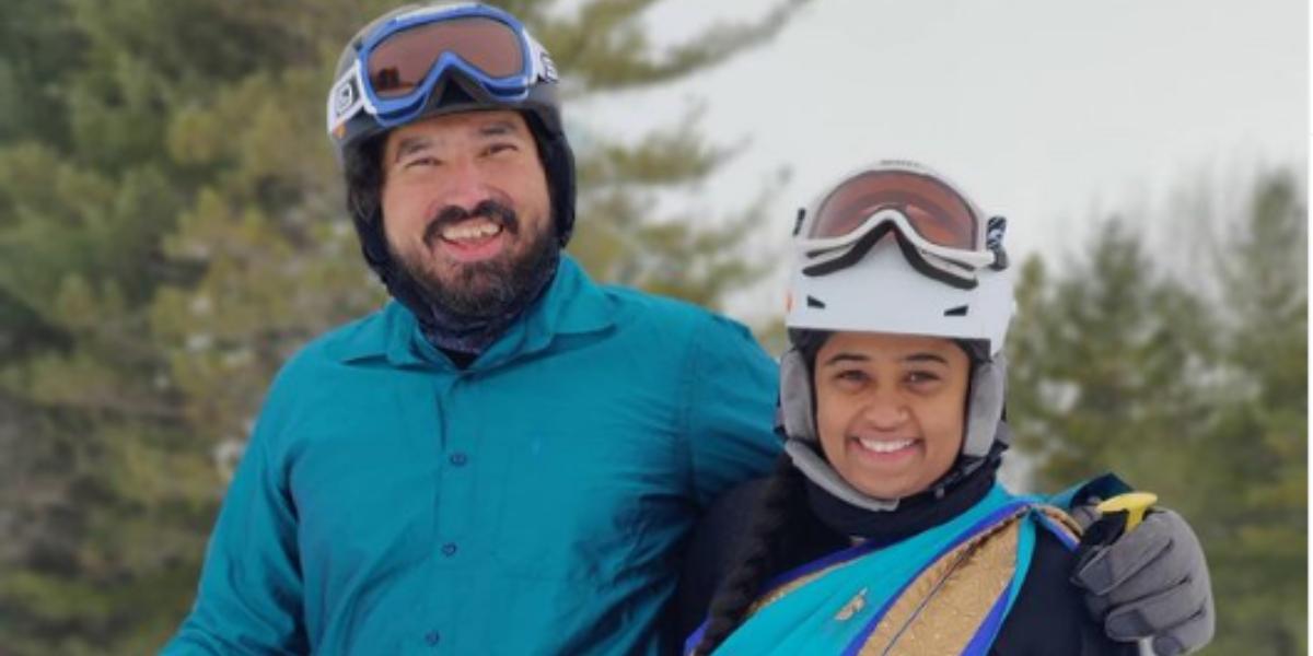 desi couple skiing