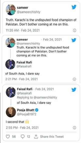 Pooja Bhatt Karachi best food