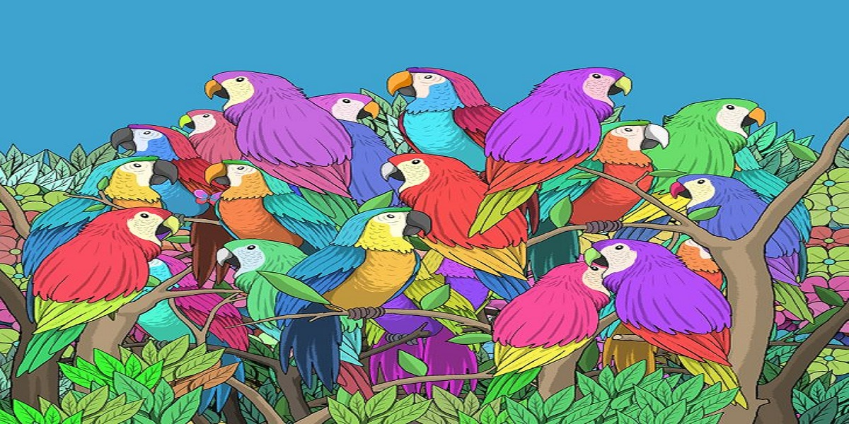Can you find a butterfly among these parrots?