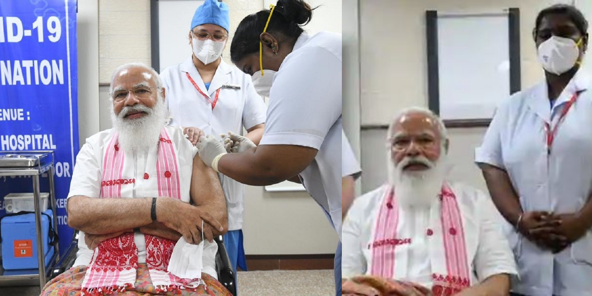 Modi receives first COVID-19 vaccination shot