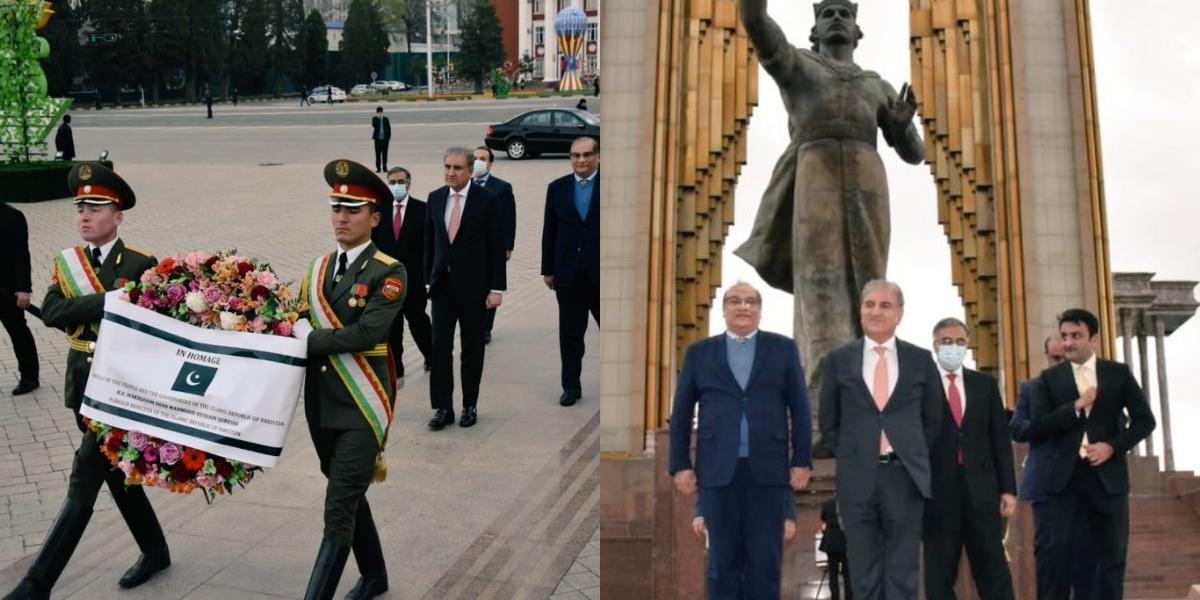 FM Qureshi At monument of founder Tajik Empire