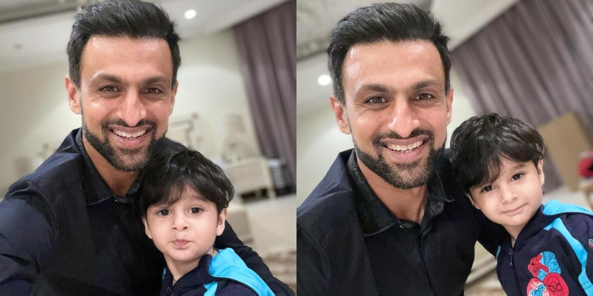 Shoaib Malik with his son