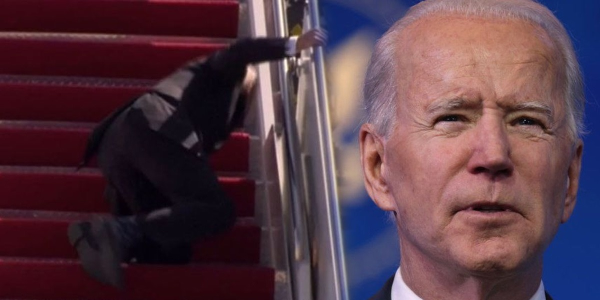 Oldest US President Biden Tripping Up Stairs Of Air Force One Thrice