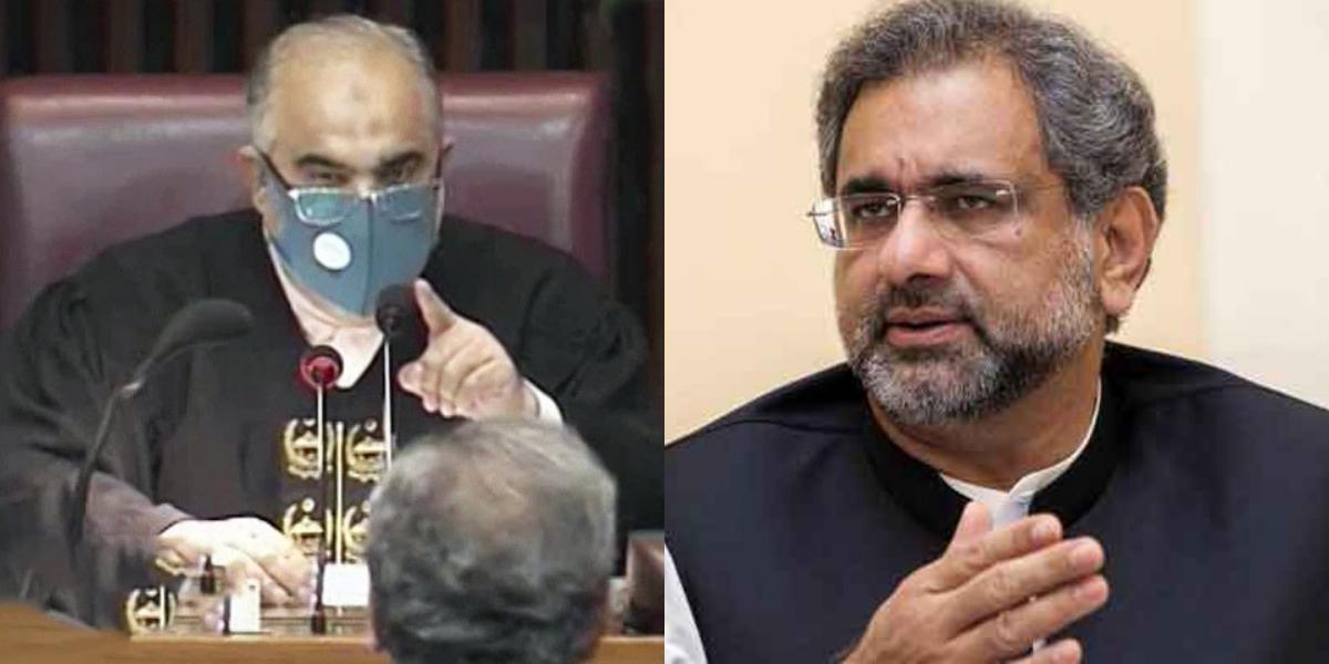 Shahid Khaqan Abbasi Asad Qaiser heated exchange