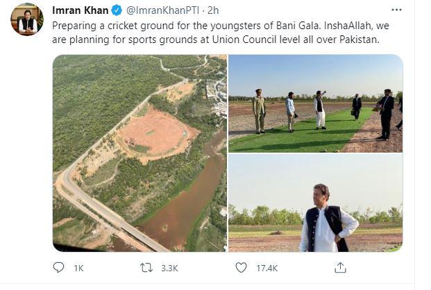 imran tweet on bani gala ground