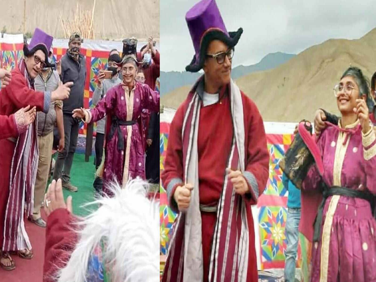 Aamir Khan & Kiran Rao don traditional Ladakhi attire to dance with locals