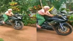old woman riding