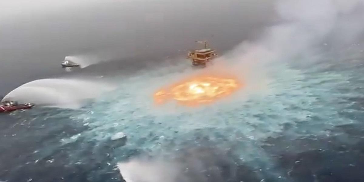 Gulf of Mexico Is on Fire near Pemex's offshore oil field