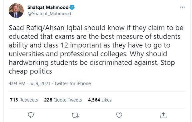 shafqat mehmood tweet
