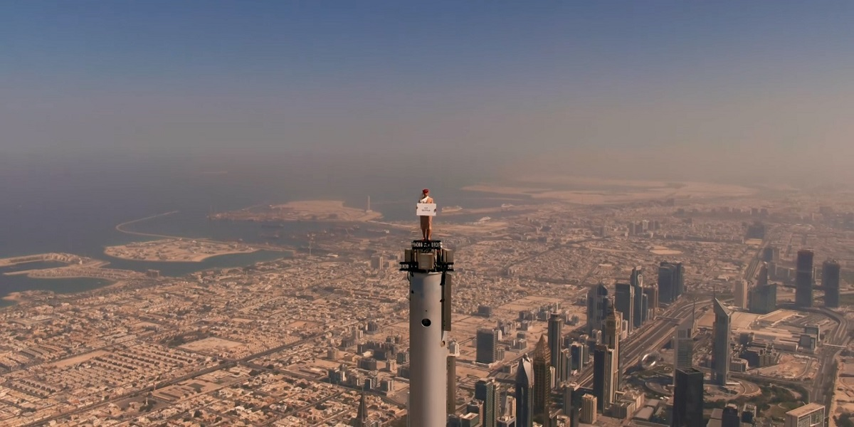 Emirates shoots a new commercial at the top of Burj Khalifa
